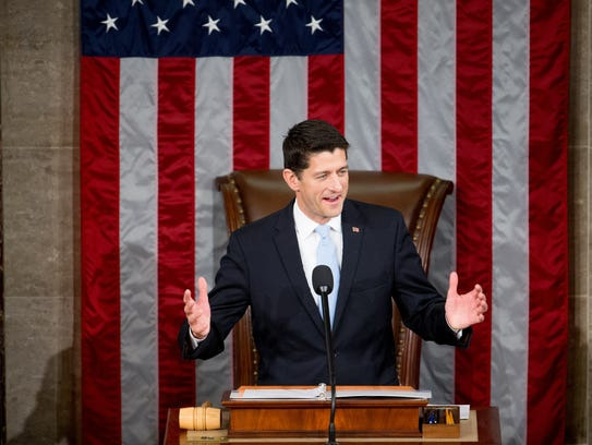 Newly elected House Speaker Paul Ryan of Wis. speaks