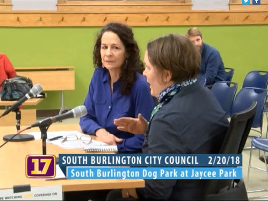 Catherine Young and Maike Uetzmann of the South Burlington Dog Park Committee fight to reopen Jaycee Park with a petition including 270 names from their neighborhood on Feb. 20, 2018.