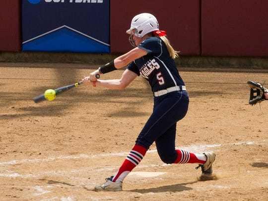 Allison Schubert swings during USI's 3-0 win over Angelo