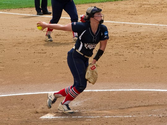 Jennifer Leonhardt threw a no-hitter during USI's 3-0 win on Friday over Angelo State in the Division II World Series.