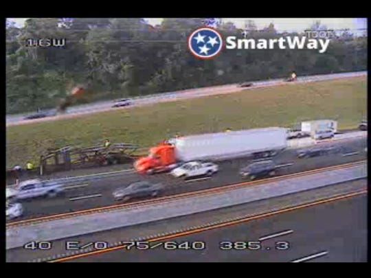 An overnight tractor-trailer fire is causing backups for morning commuters on Interstate 40 East near mile marker 385.