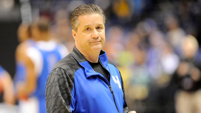 Kentucky Wildcats coach John Calipari during practice for the Midwest regional of the 2014 NCAA Tournament at Lucas Oil Stadium.