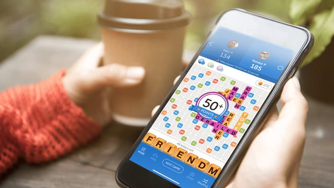 Words With Friends is an interactive game you can play on your phone.