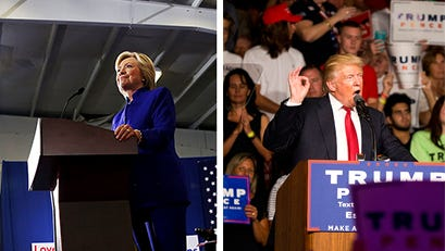 At left, Hillary Clinton addresses the crowd during a rally at the Frontline Outreach and Youth Center in Orlando, Fla. on Wednesday, Sept. 21, 2016. At right,  Donald Trump speaks during his campaign rally at Germain Arena Monday, September 19, 2016 in Estero.