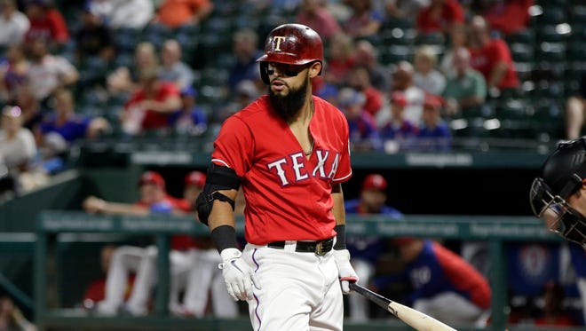 Rougned Odor draws his fifth walk of the game in the eighth inning.