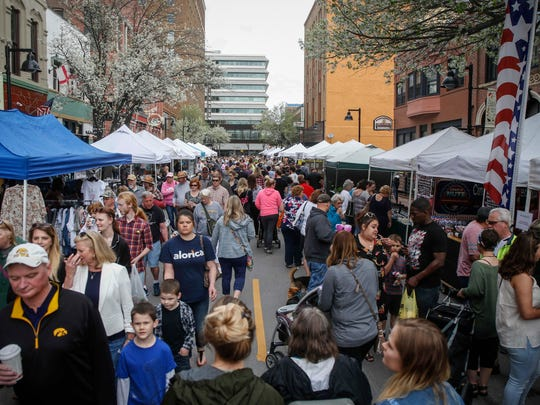 Thousands turned out for the opening day of the 2018 Downtown Farmers Market on Court Avenue in Des Moines on Saturday, May 5, 2018.
