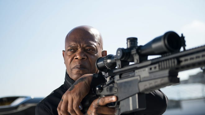 "Samuel L. Jackson appears in a scene from ""The Hitman's Bodyguard."""