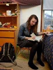 Lawrence University student Shannon Grant works on