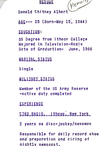 Don Alhart's first and only resume.