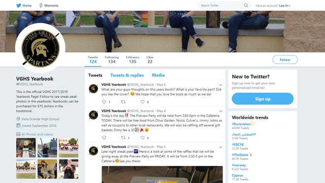 A screenshot of the Vista Grande High School Yearbook's Twitter account on May 12, 2018.