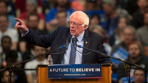 Bernie Sanders speaks during a campaign rally at Colorado