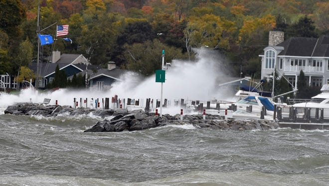 High winds are evident at the Sister Bay Marina at its southern point on Sunday morning, Oct. 15, 2017.