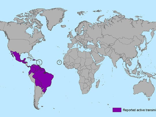 Countries and territories with active Zika virus transmission.