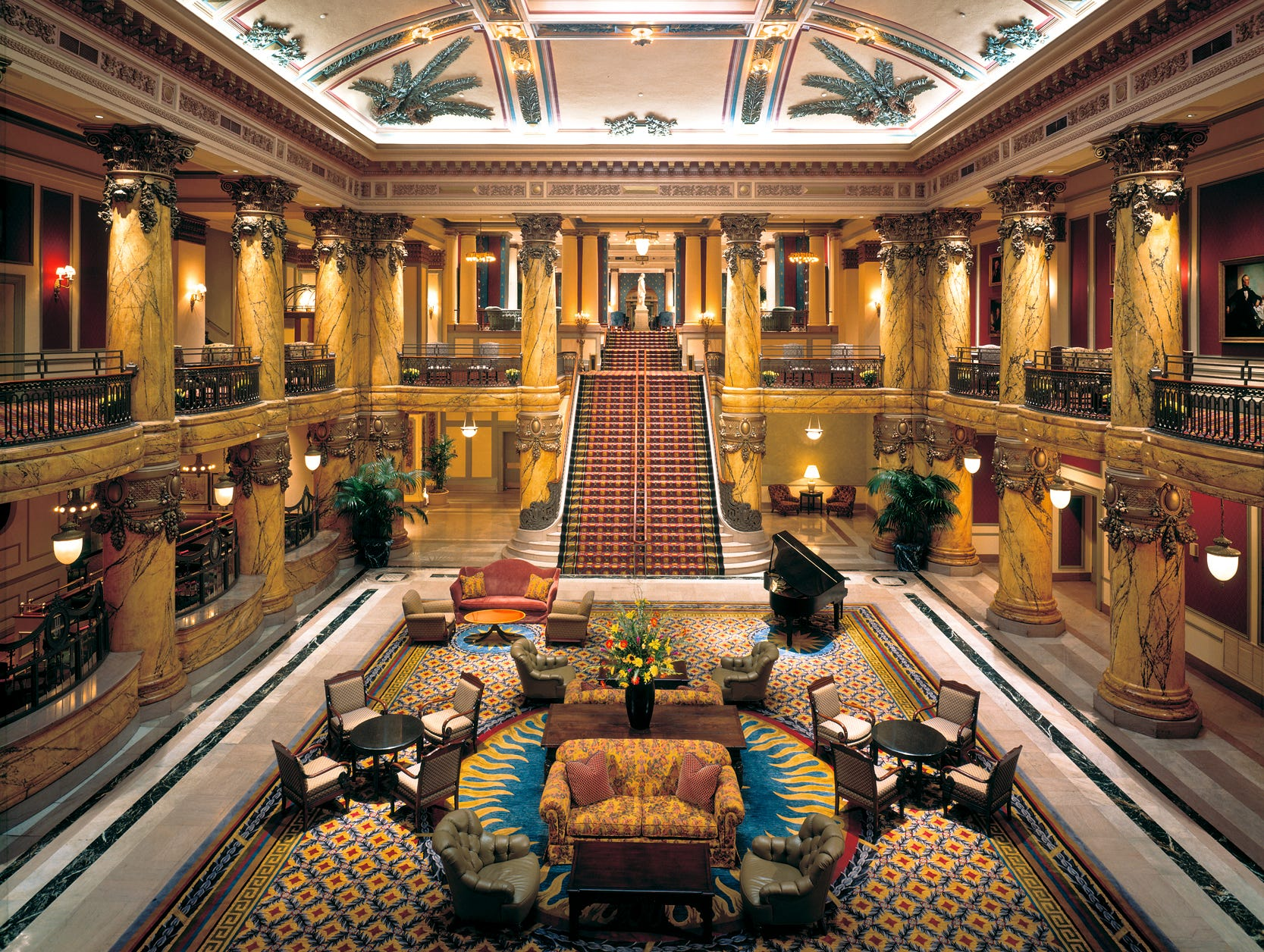 The main lobby of the Jefferson Hotel is sunken and spacious.