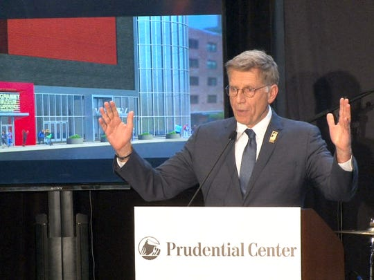 Grammy Museum Executive Director Bob Santelli speaks at the Prudential Center in Newark Tuesday, February 7, 2017, where the Grammy Museum Experience will soon be housed.