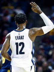 Memphis Grizzlies guard Tyreke Evans celebrates a three-point basket agaisnt Indiana Pacers during third quarter action at the FedExForum in Memphis, Tenn., Wednesday, November 15, 2017.
