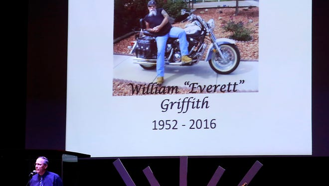 Family friend Larry Bomberger speaks at Everett Griffith's memorial on Saturday at Pinon Hills Community Church in Farmington.