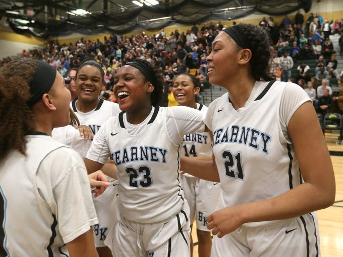 Bishop Kearney's Allure Simmons (23) celebrates with