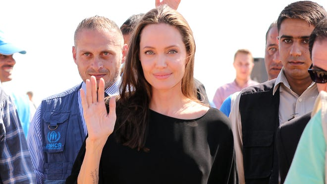 Angelina Jolie arriving at a Syrian refugee camp in Azraq in northern Jordan, on September 9, 2016.