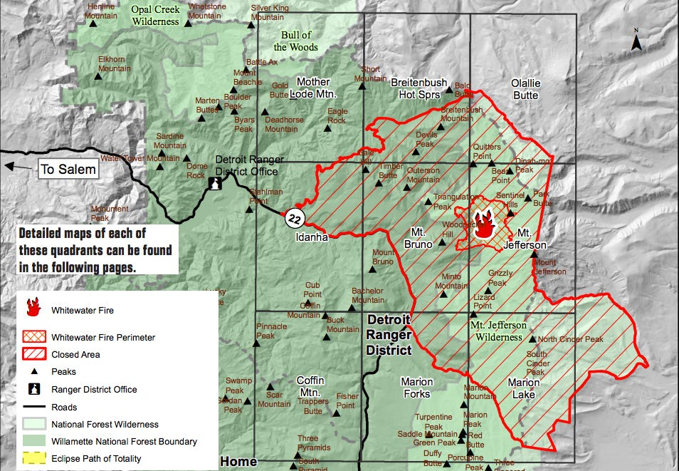 Fire closes 117000 acres at Mount Jefferson for 2017 solar eclipse