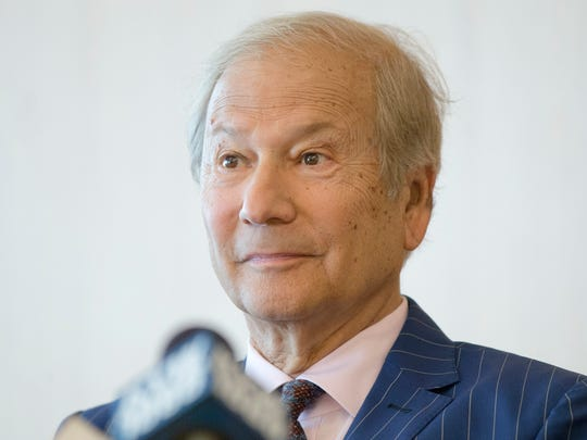In this May 27, 2014 file photo, businessman Lewis Katz speaks at a news conference after a closed-door auction to buy the The Philadelphia Inquirer and Philadelphia Daily News in Philadelphia.  The editor of The Philadelphia Inquirer says co-owner Lewis Katz is among the seven people killed in a plane crash in Massachusetts.  Bill Marimow confirmed Katz's death to Philly.com on Sunday, June 1, 2014, saying he learned the news from close associates.  The plane crashed and caught fire as it was leaving Hanscom Field while on its way to Atlantic City International Airport. Massachusetts Port Authority spokesman Matthew Brelis says there were no survivors in the crash.
