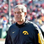 Iowa head coach Kirk Ferentz looks on prior to the Rose Bowl on Jan. 1, in which Stanford beat the Hawkeyes 45-16.
