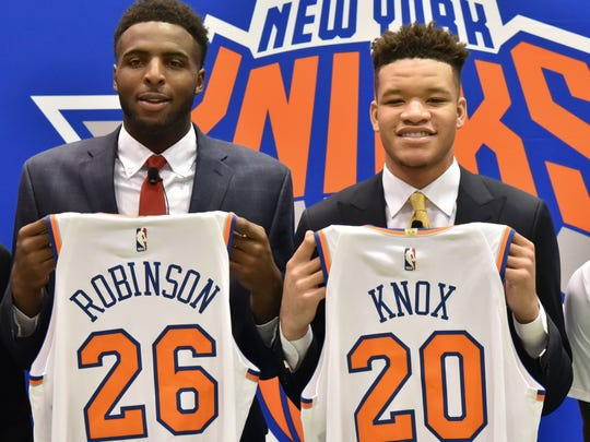 Knicks introduces first-round NBA Draft pick Kevin Knox And Mitchell Robinson at a press conference in Terrytown, on Friday, June 22.