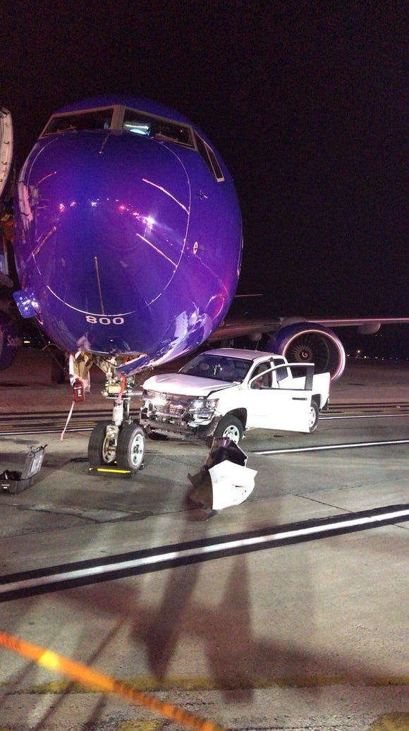The Southwest Airlines flight was taxiing to its gate,