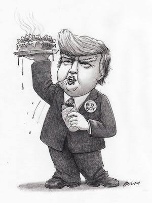 """""""Big Boy"""" by Harry Bliss, a cartoonist for The New Yorker who lives in Burlington."""