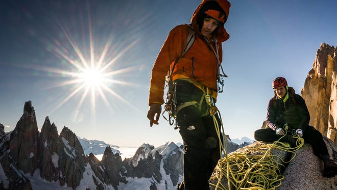 Alex Honnold and Tommy Caldwell are seen on the Fitz Roy Traverse in Patagonia, Argentina.