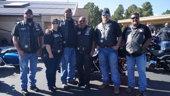 Guardians of the Children, road names left to right: Lugnitz, Halo, Spanx, Preacher, Blade and Tank from Las Cruces joining the 2017 Golden Aspen Motorcycle Rally Parade Saturday.