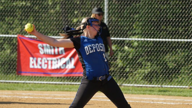 Makenzie Stiles, Deposit's three-time Class D state softball Player of the Year, delivers a pitch during a perfect game in Section 4 semifinal.