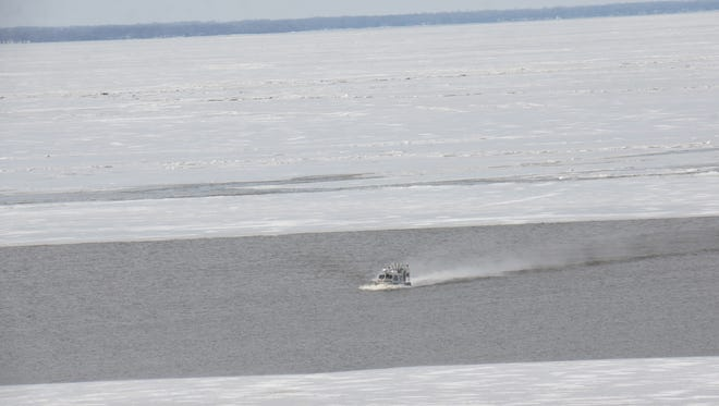 The Fond du Lac County Sheriff's Office Amphibious Rescue Craft return's with ice fishermen that were stranded on Lake Winnebago on Sunday afternoon.