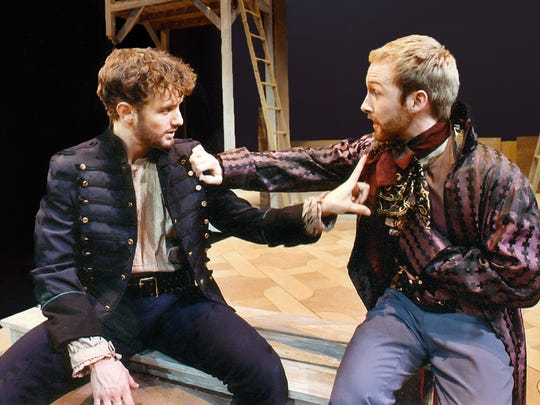 "Nick Mills (left) as Lago and Joel Rainwater (right) as Roderigo in ""Othello"" by William Shakespeare at UE in 2003."