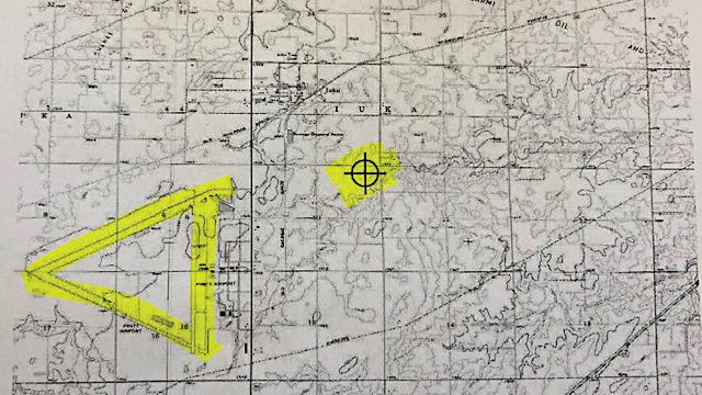 This map shows the location of the proposed AT&T Tower as it relates to working leg of the Pratt Regional Airport. Only the north/south runway 35-17 is actually used and maintained as the active runway.