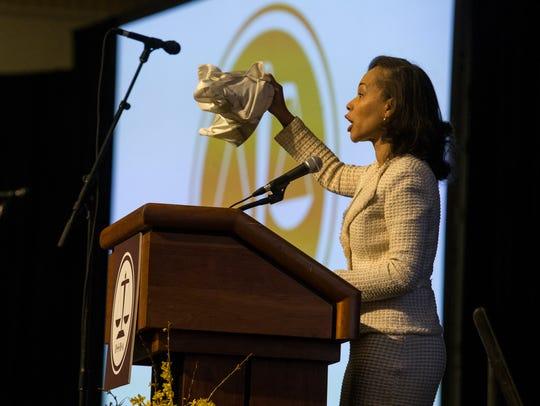 Congresswoman Lisa Blunt Rochester speaks during the