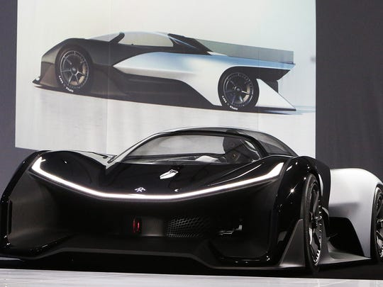 The Faraday Future FFZERO1 Concept vehicle is shown at FF's pre-CES reveal event in Las Vegas on Monday, Jan. 4, 2016.