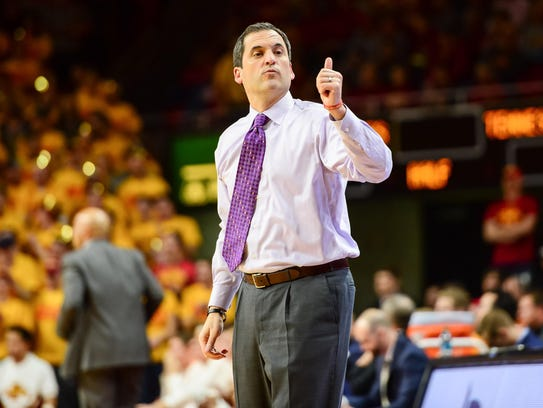 Iowa State head coach Steve Prohm reacts during the first half against Tennessee at Hilton Coliseum on Jan. 27, 2018, in Ames, Iowa.
