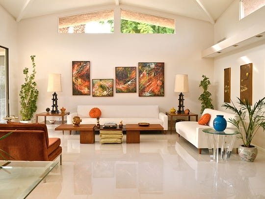 """Scott Cole of Palm Springs mixes and matches items from different eras, curating the """"best of everything,"""" including the eclectic pieces in the living room."""