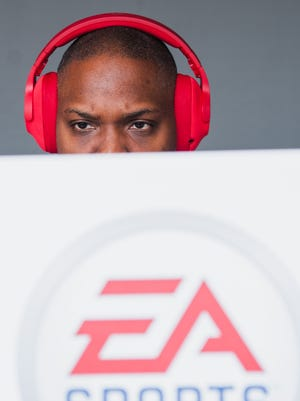 Chip Flowers plays Madden 18 at the Electronic Arts (EA) E3 press conference at the Hollywood Palladium in Hollywood, California, June 10, 2017.   The EA press conference is held in conjunction with the annual Electronic Entertainment Expo (E3) which focuses on gaming systems and interactive entertainment, featuring introductions to new products and technologies.