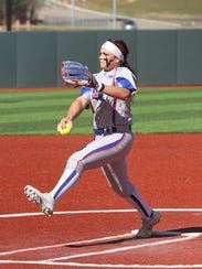 Louisiana Tech pitcher Preslee Gallaway delivers a