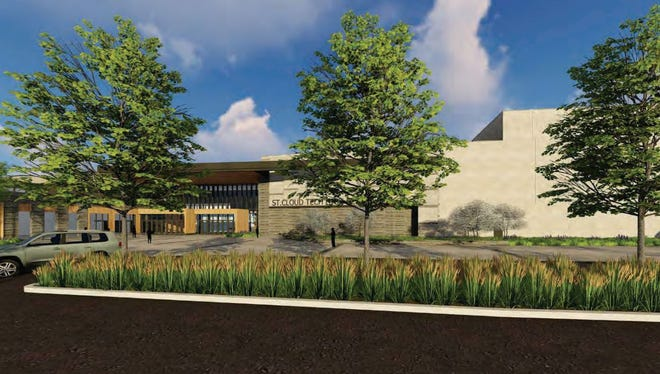 A drawing shows tentative designs for the entrance of Tech High School.