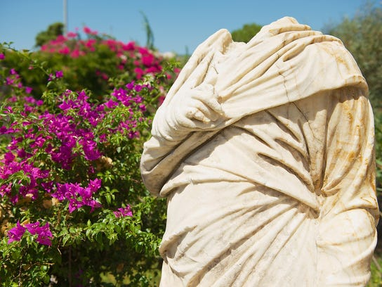 Fragment of an ancient roman statue in Bodrum, Turkey.