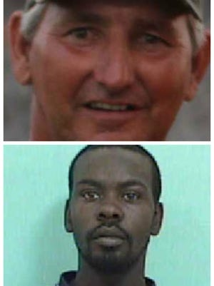 Ricky Saxton (top) was killed in 2013, and police are looking for Johnny Mack Brown (bottom) in his death.