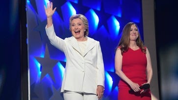 Democratic presidential nominee Hillary Clinton and daughter Chelsea Clinton (right) during the 2016 Democratic National Convention at Wells Fargo Center in Philadelphia.