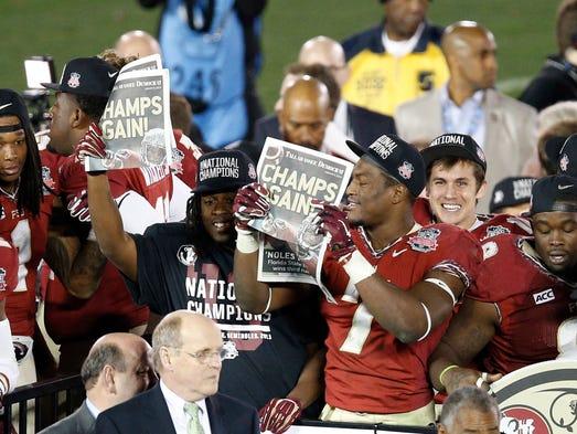 Jan 6, 2014; Pasadena, CA, USA; Florida State Seminoles players celebrate