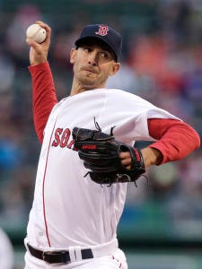 Boston pitcher Rick Porcello delivers during the first inning against Tampa Bay on Wednesday. (AP Photo/Charles Krupa)