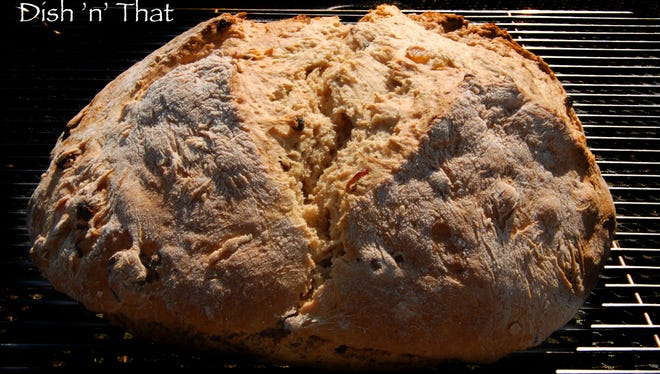 Irish Soda Bread is studded with golden raisins and cranberries.