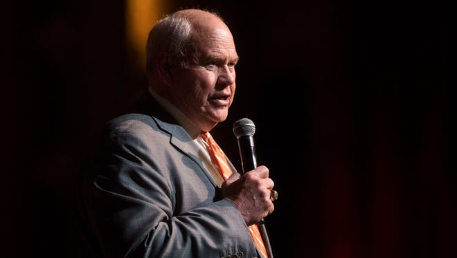 University of Tennessee athletic director Phillip Fulmer speaks during University of Tennessee's National Signing Day celebration at the Tennessee Theatre Wednesday, Feb. 7, 2018.