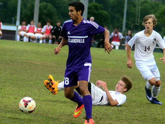 Clarksville High sophomore Angel Aponte' dribbles forward